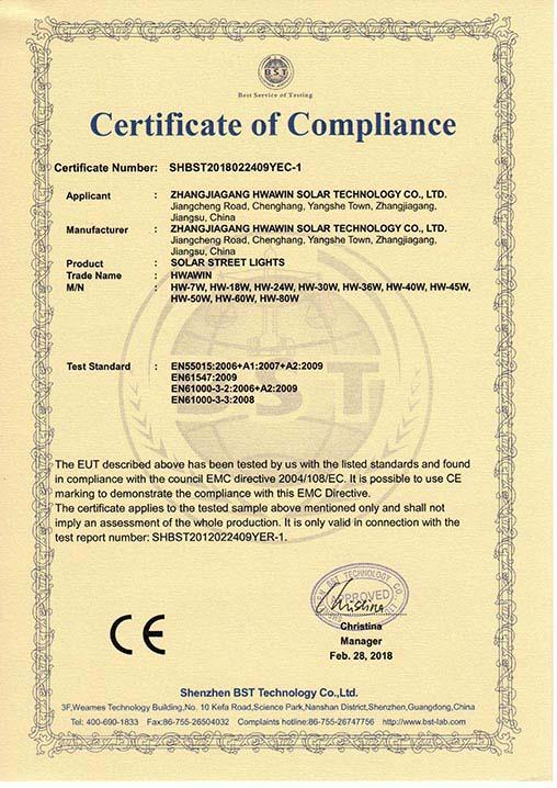 CE Certification of Solar Street Lights