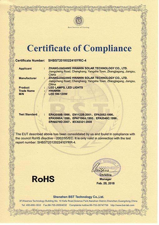 RoHS Certification of LED Lamp LED Light